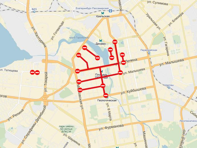 того, чтоб перекрытие дорог в екатеринбурге 9 мая конце